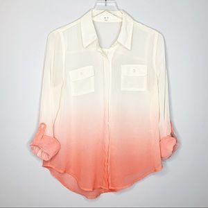 MINE Orange White Ombre Sheer Blouse Shirt Large